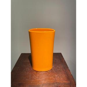 Vase en céramique jaune Italie années 60
