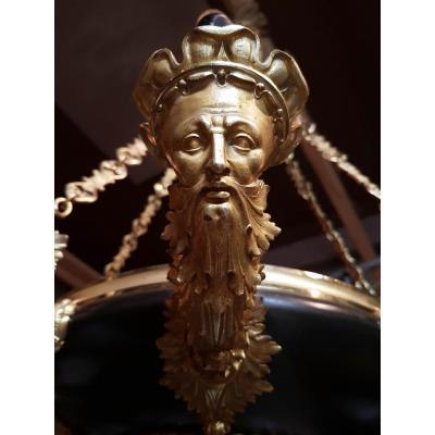 Lustre Chandelier En Bronze Doré