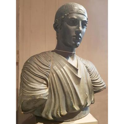 "Platre Avec Bronze Patine ""driver Of Delphi"", 19e"