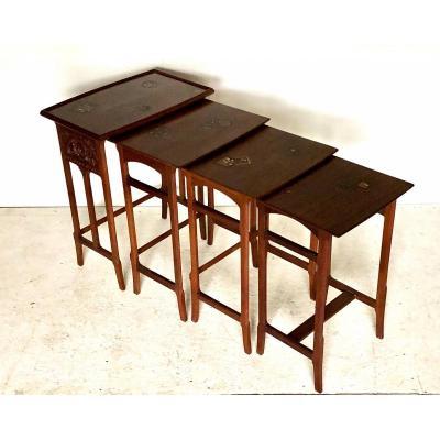 Suite De Tables Gigognes Art Deco Circa  1925 De Majorelle A Nancy .