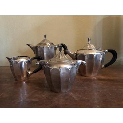 Art Deco Coffee Service In Silver Metal Circa 1925. Roux Marquiand Hallmark