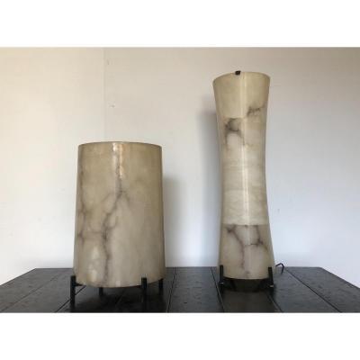 Paire De Lampes Italiennes  En Albâtre . Design Italien  Circa 1950 1960