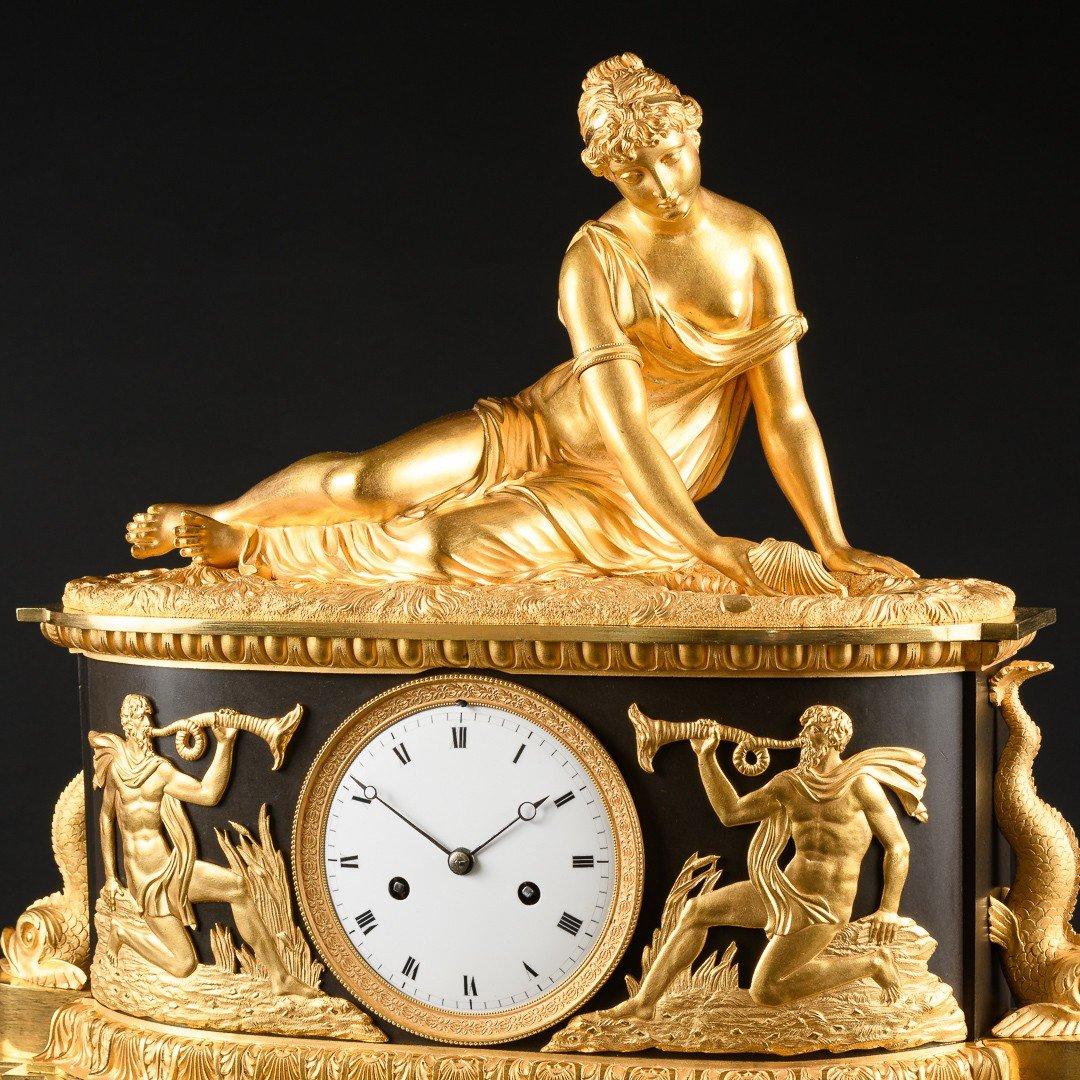 """Attribuée À Claude Galle (1759-1815) - Étonnante Pendule Mythologique Empire """"nymphe À La Coquille"""" -photo-1"""