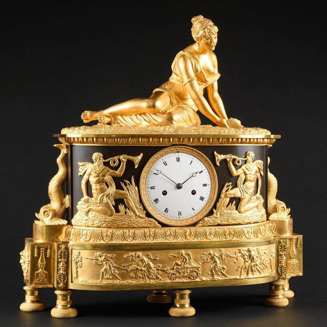 """Attribuée À Claude Galle (1759-1815) - Étonnante Pendule Mythologique Empire """"nymphe À La Coquille"""" -photo-4"""