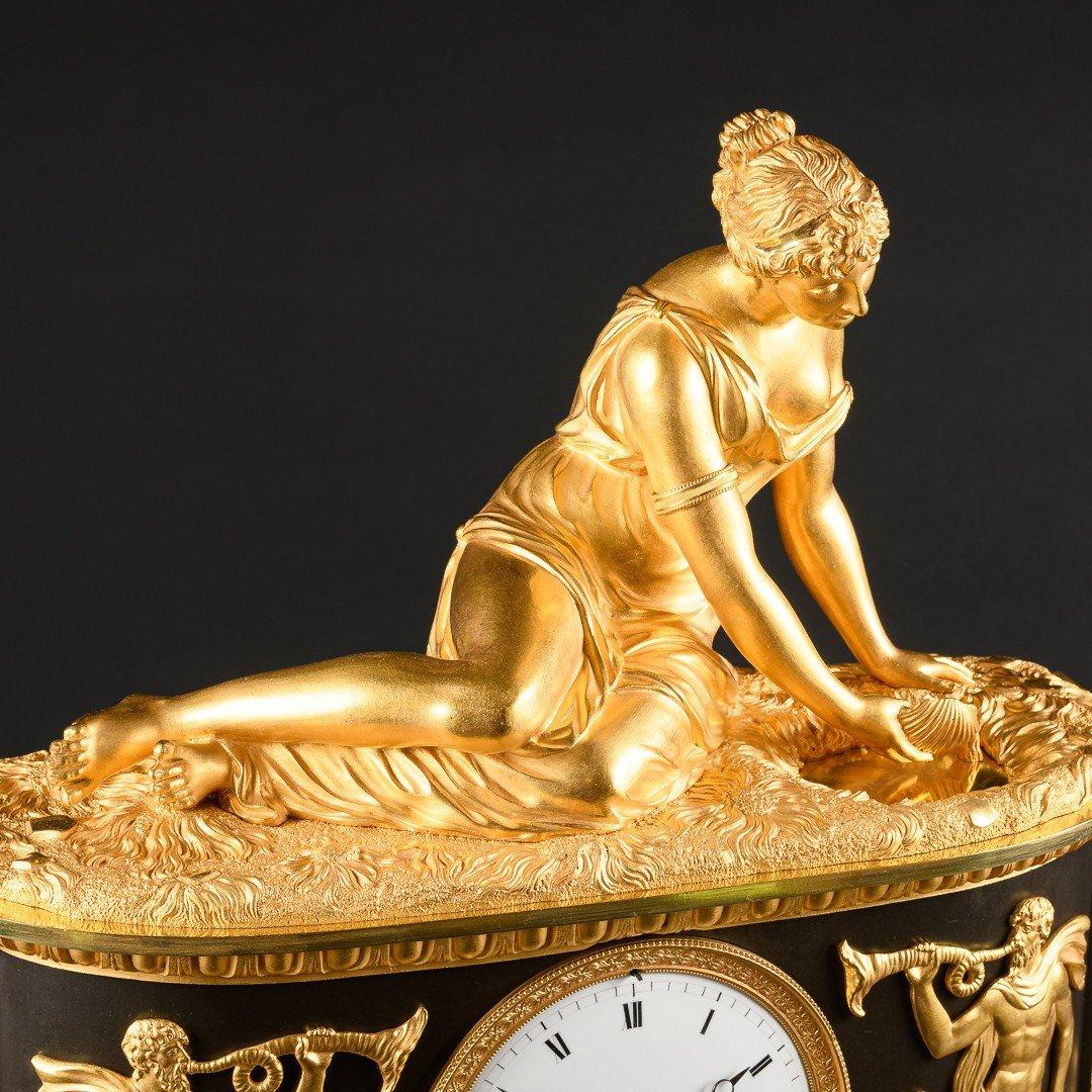 """Attribuée À Claude Galle (1759-1815) - Étonnante Pendule Mythologique Empire """"nymphe À La Coquille"""" -photo-5"""