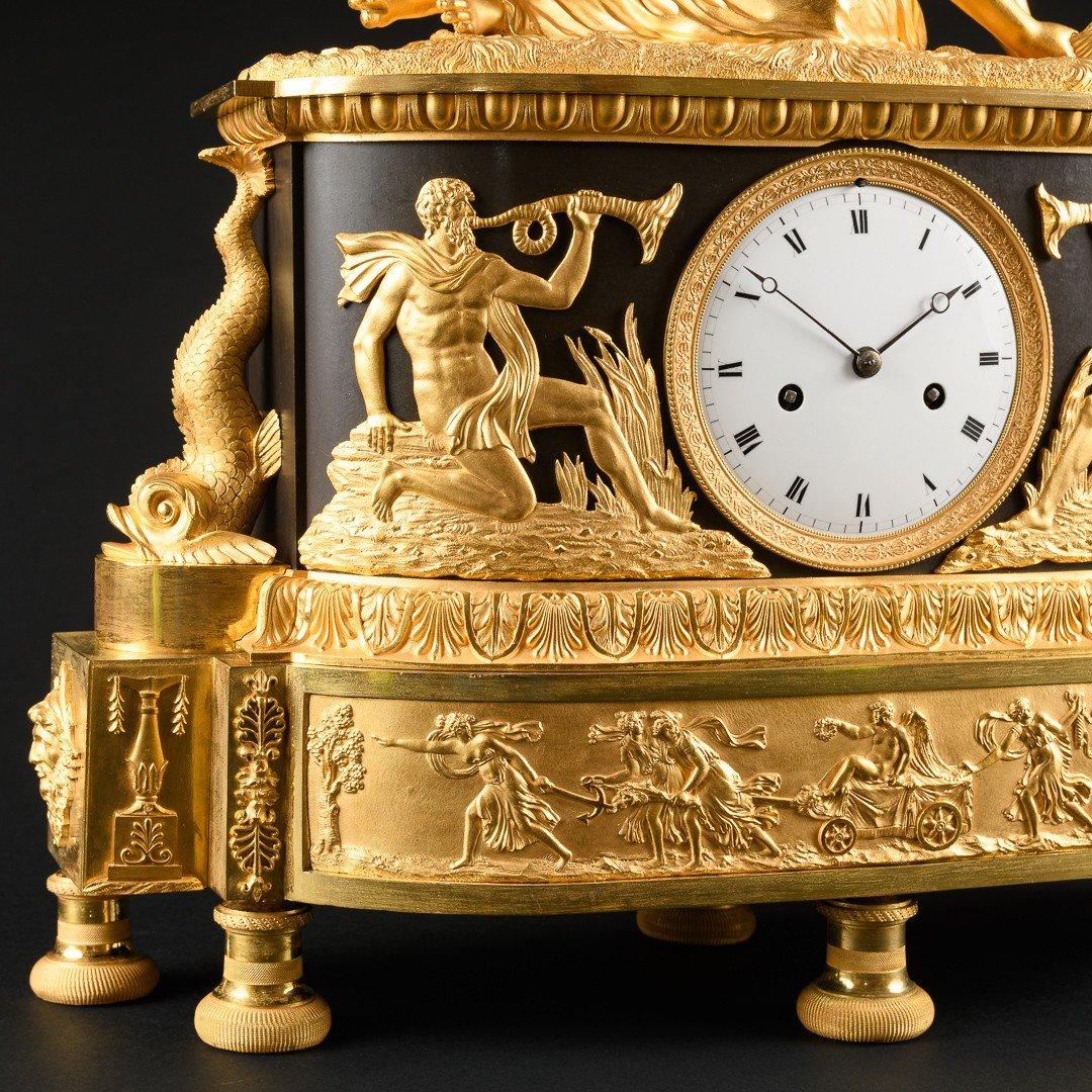 """Attribuée À Claude Galle (1759-1815) - Étonnante Pendule Mythologique Empire """"nymphe À La Coquille"""" -photo-6"""