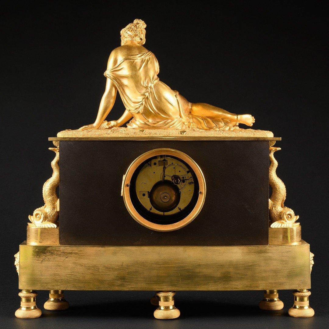 """Attribuée À Claude Galle (1759-1815) - Étonnante Pendule Mythologique Empire """"nymphe À La Coquille"""" -photo-7"""
