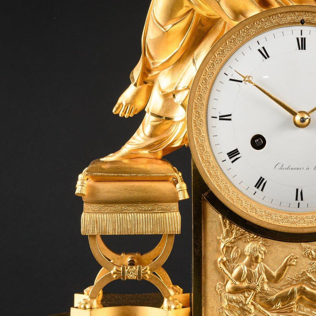 """Attribuée À François-louis Savart  -  Rare Pendule Empire """"lettre D'amour""""-photo-2"""