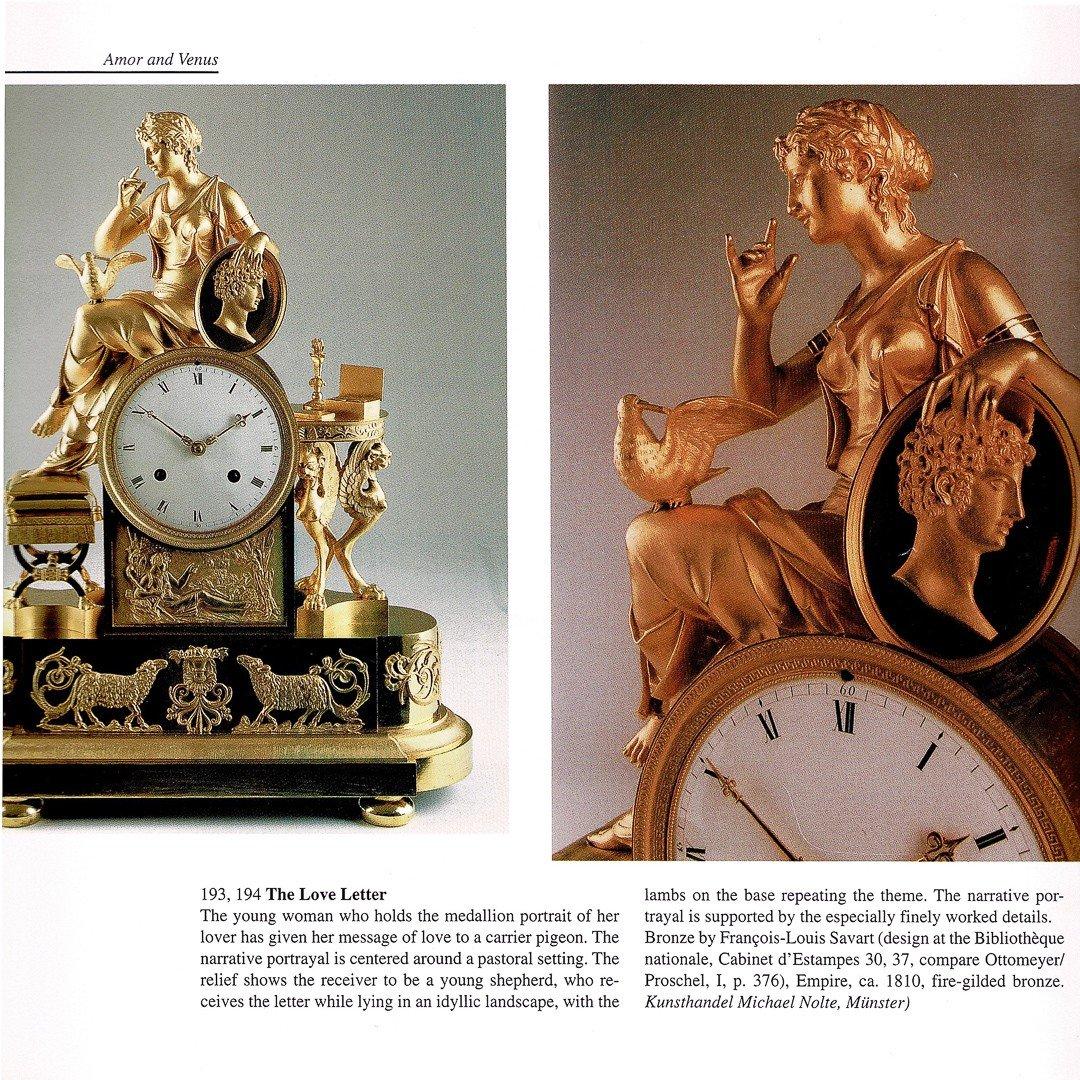 """Attribuée À François-louis Savart  -  Rare Pendule Empire """"lettre D'amour""""-photo-7"""