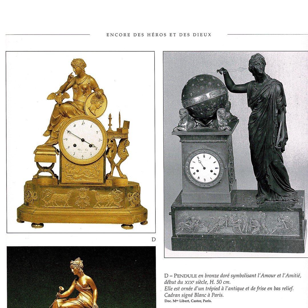 """Attribuée À François-louis Savart  -  Rare Pendule Empire """"lettre D'amour""""-photo-8"""