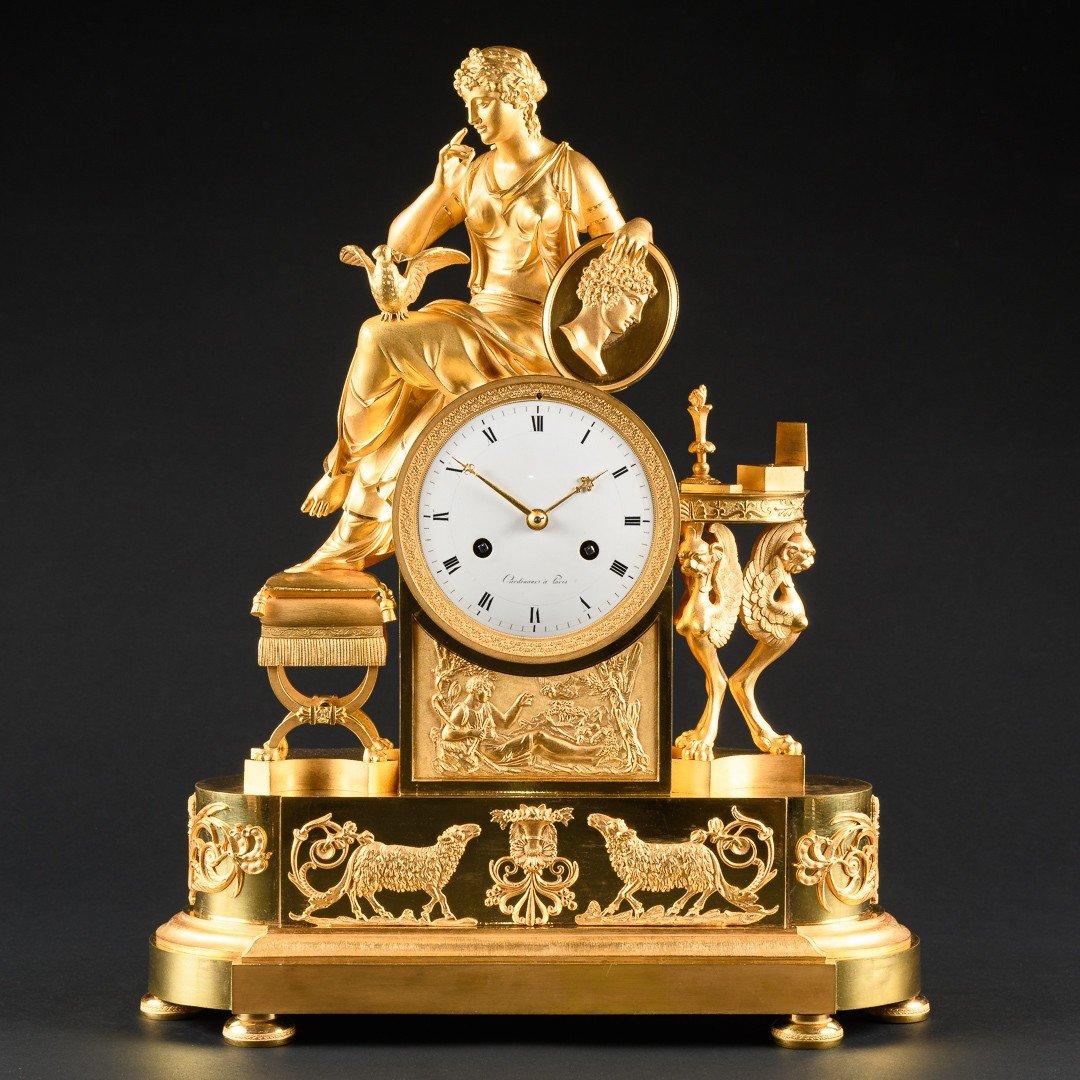 """Attribuée À François-louis Savart  -  Rare Pendule Empire """"lettre D'amour"""""""
