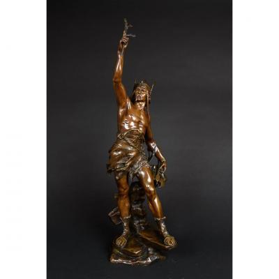 Grande Sculpture En Bronze De Vercingétorix Signé Drouot