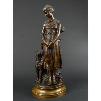 Bronze Sculpture Of A Woman With Her Dog Signed Truffot - 66 Cm High