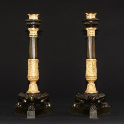 Pair  Of   Restoration Candlesticks