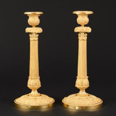 Pair Of Decorative Gilt Bronze French Candlesticks