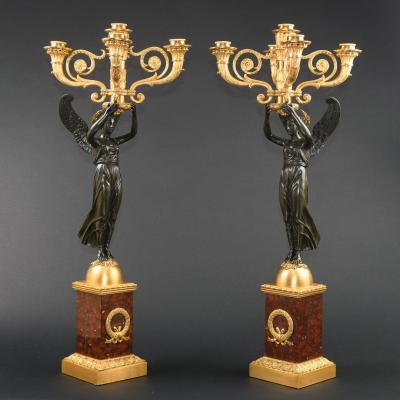 Imposing Pair Of Empire French Candelabra With Winged Victory