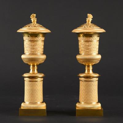 Splendid Pair Of Empire Candlesticks / Incense Burners For Double Use