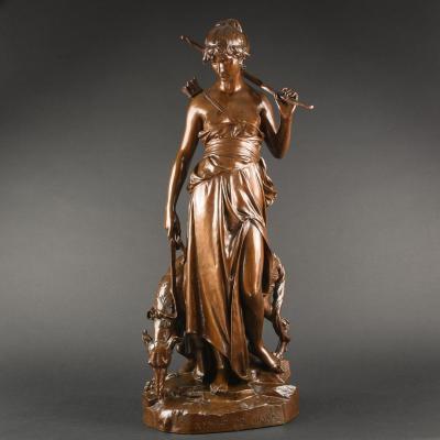 Grande Sculpture Antique en Bronze ''Nymphe De Diane'' Signée Eugène Aizelin - Hauteur 78