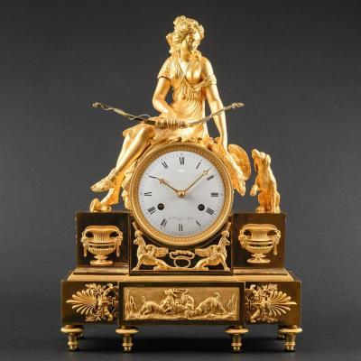 Précieuse Pendule Mythologique Diane Chasseresse Période Directoire 1795-1799