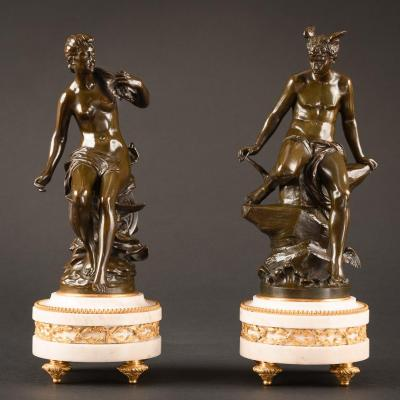 Charmante Paire De Sculptures En Bronze Mythologiques Mercure Et Fortuna
