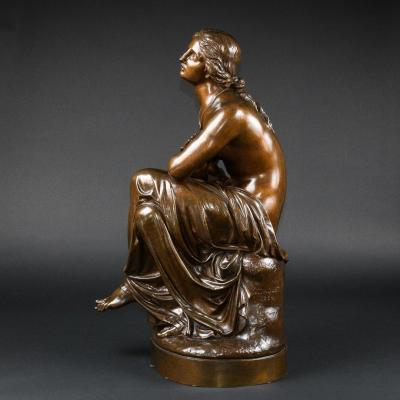 """Hauteur 76 Cm - Sculpture Dramatique En Bronze Antique """"esmeralda"""" Signée Jean-joseph Jaquet"""