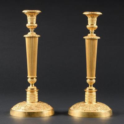 Attributed To Ravrio - Stunning Pair Of French Empire Candlesticks