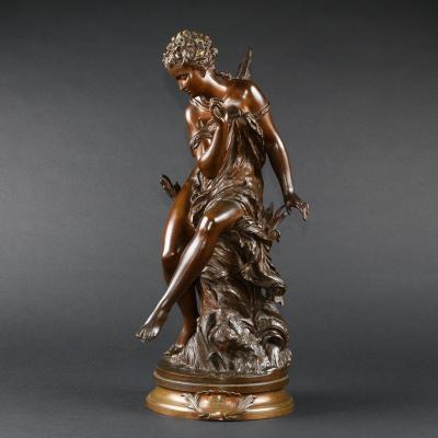 """Elégante Sculpture Française Ancienne En Bronze """"ondine"""" Signée Mathurin Moreau (1822- 1912)"""