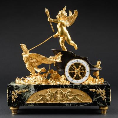 "Unique Pendule À Char ""jupiter"" D'epoque Empire"