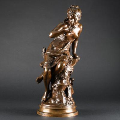 """Belle Sculpture Ancienne En Bronze """"la Source"""" Signée Mathurin Moreau"""
