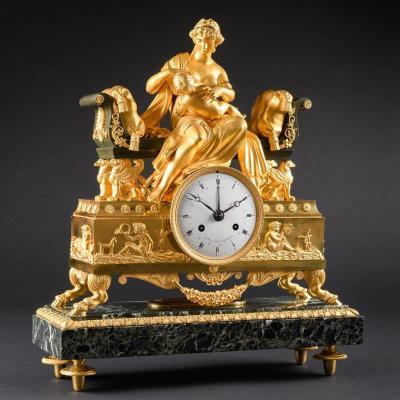 """Signé Bazile-Charles Le Roy en tant que horlogerde la famille de l'empereur Napoléon - Pendule Empire Captivante Et Rare """"mère Allaitant Son Enfant"""""""