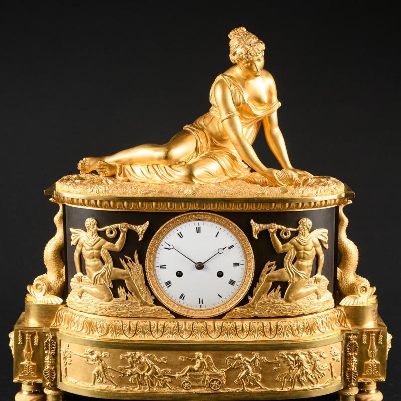"""Attribuée À Claude Galle (1759-1815) - Étonnante Pendule Mythologique Empire """"nymphe À La Coquille"""" -photo-2"""