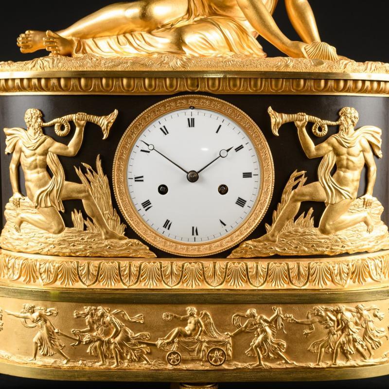"""Attribuée À Claude Galle (1759-1815) - Étonnante Pendule Mythologique Empire """"nymphe À La Coquille"""" -photo-3"""