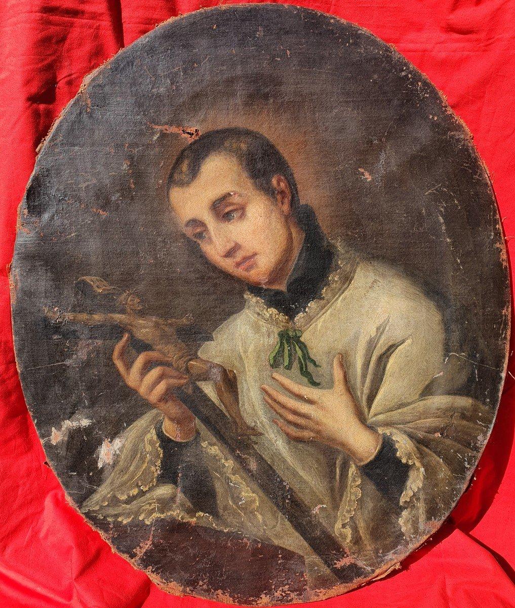 Large Religious Portrait Young Priest Contemplation Crucifix 17th - 18th