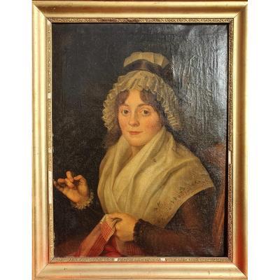 Portrait Présumé De Charlotte Corday Fin XVIIIe Huile Sur Toile