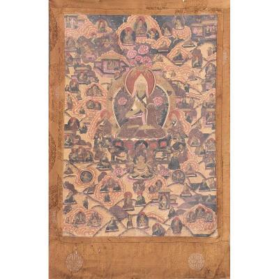 Thangka Ancien Tibetain Tsongkhapa XIXe
