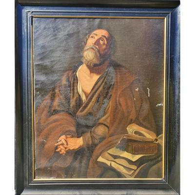 Imposant Tableau Religieux Saint Pierre XVIIIe 18e