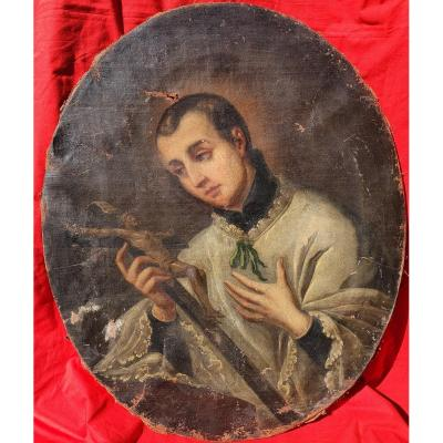 Large Religious Portrait Young Priest Contemplation Crucifix 17th - 18th