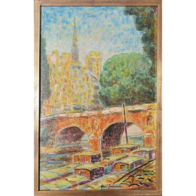 Ile  Saint-louis, Pont Saint-louis, Notre-dame, Paris, Henri Garrouste XXe Bénézit