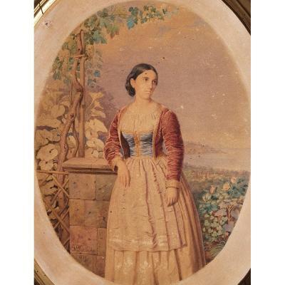 Portrait D'Adélaïde De Hasbourg-Lorraine, Reine De Sardaigne, Maison De Savoie, F. Pietrocola