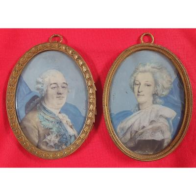 Portraits Of King Louis XVI And Queen Marie-antoinette, Miniature On Ivory Signed