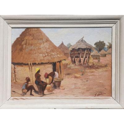 Tableau Scène Africaine Village De Sambaillo Gustave Fontaine Haute  Guinée 1938 Africaniste