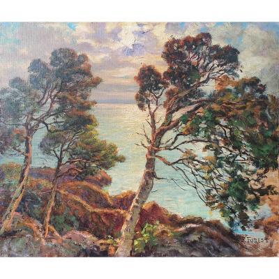Painting Marine Cote d'Azur Pierre Forest (1881-1971)