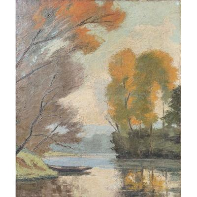 Tableau Paysage De Campagne Impressionniste Germain Raingo Pelouse