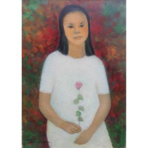 Portrait En Pied D'une Jeune Femme Asiatique Signée Simone Hou, Chine Vietnam Asie XXe