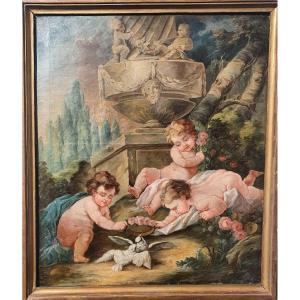 Tableau Huile Sur Toile Putti Chérubins XVIIIe