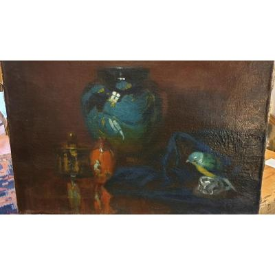 Oil On Canvas By Max Durschke, Still Life In A Chinese Pot Early 20th