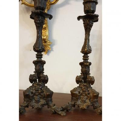 Pair Of 19th Bronze Candlesticks With Heads Of Men, Rams And Busts Of Women.