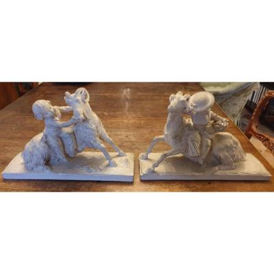Pair Of Sculpture Signed Ls Boizot, Sèvres, Louis XVII And Madame Royale