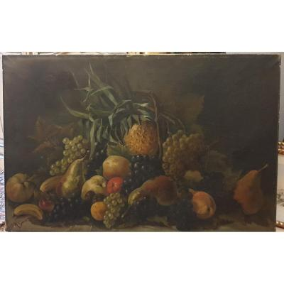 Large Oil On Canvas Still Life With Fruits.