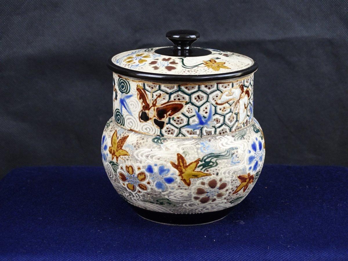 Pot couvert en céramique émaillée du potier japonais TANZAN vers 1900
